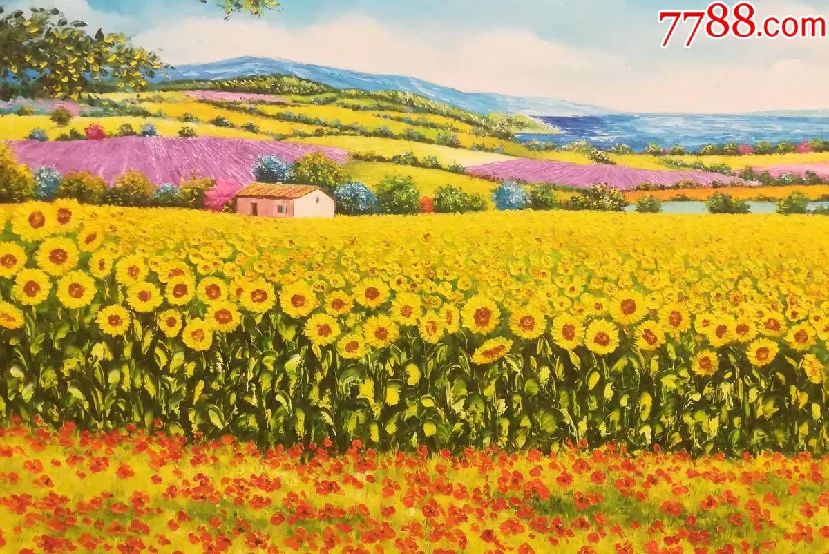 風景油畫向日葵2純手工繪畫裝飾畫