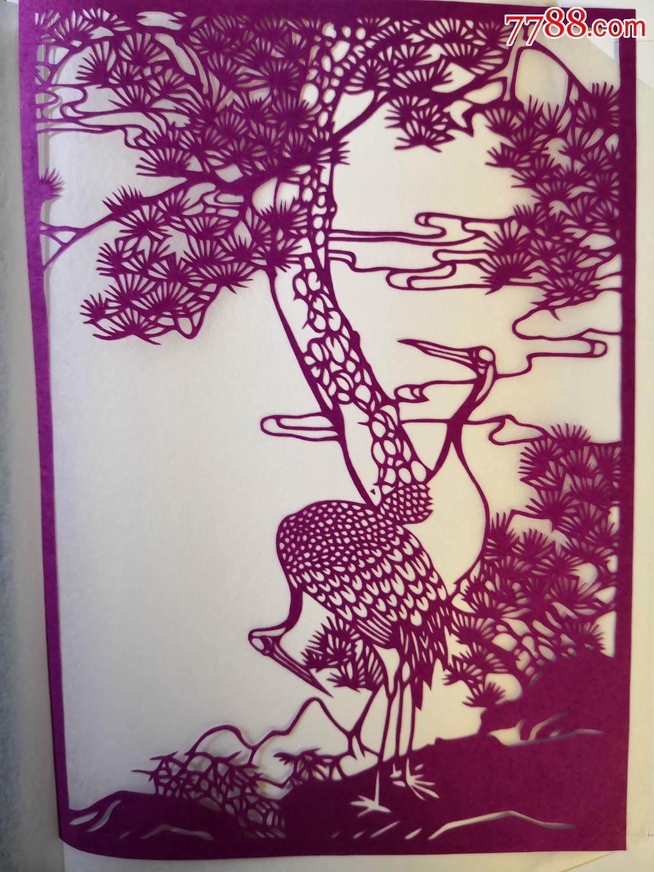 中国扬州剪纸,松鹤延年,一套4张