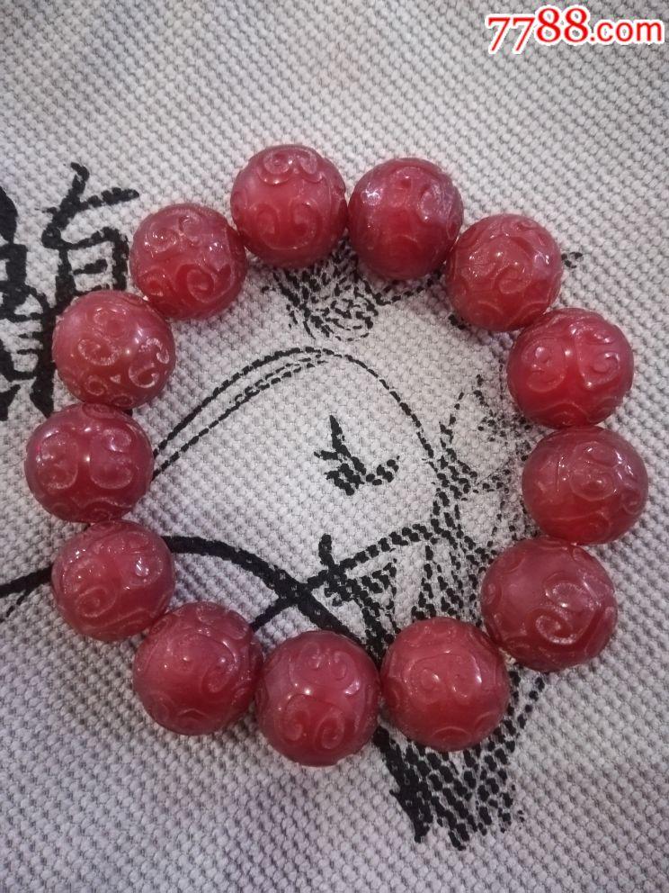 老玛瑙天然红玛瑙文玩手串花纹雕工手链