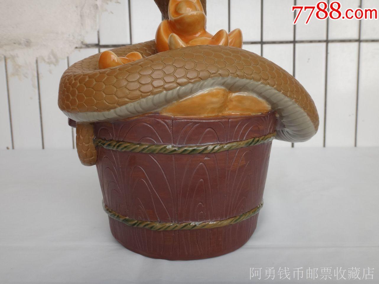 石湾陶瓷公仔生肖蛇摆件(盆满钵满)