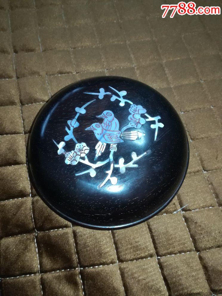 天然实木黑檀木复古镶嵌天然白贝壳喜鹊梅花正圆形印泥盒