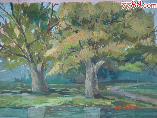 画院出来的六幅老水粉风景画