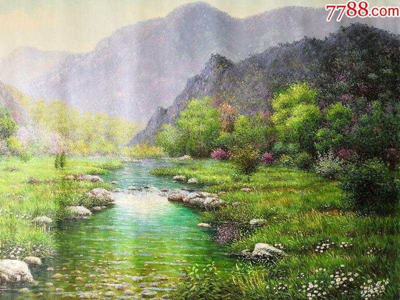 朝鲜人民画家金正泰风景油画美丽的山川图片