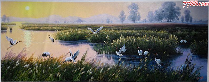 朝鲜一级画家韩成俊风景油画鹤的家乡