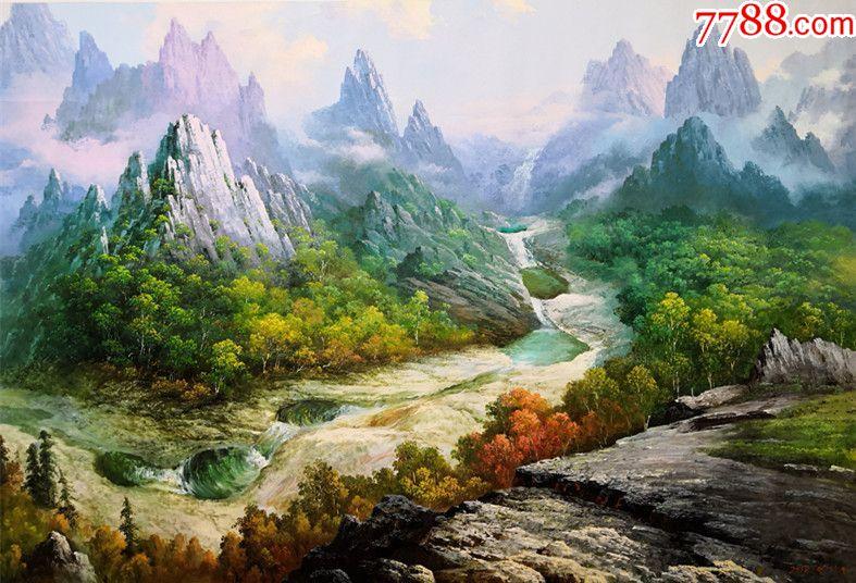 朝鮮功勛畫家嚴正民大幅風景油畫連珠潭