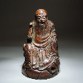 清代竹根雕寿星拿如意坐像摆件-¥2,680 元_竹雕像_7788网