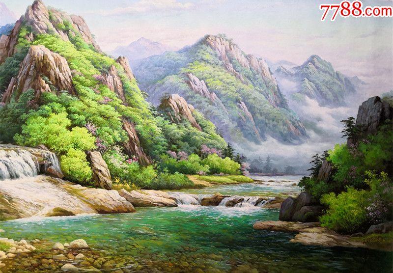 朝鲜人民画家朴孝成大幅风景油画美丽的春天