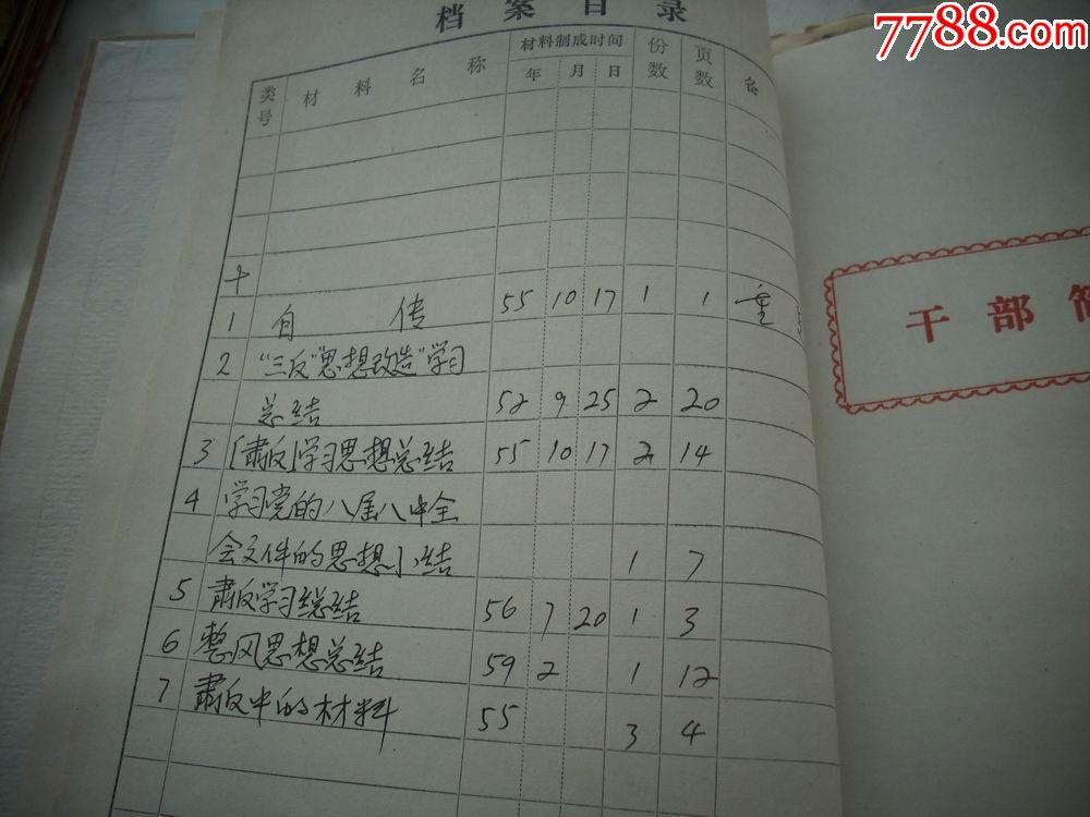 1950年-59年-地主家庭出身-老教员【魏宗恒】三反肃反图片