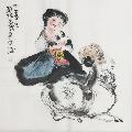 【程十发】中美协会员、国家一级美术师、手绘四尺斗方人物画-¥149 元_人物国画原作_7788网