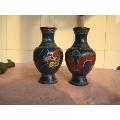 一对民国造形漂亮雕刻龙戏珠图案的珐琅彩铜摆瓶-¥800 元_铜壶/铜瓶_7788网