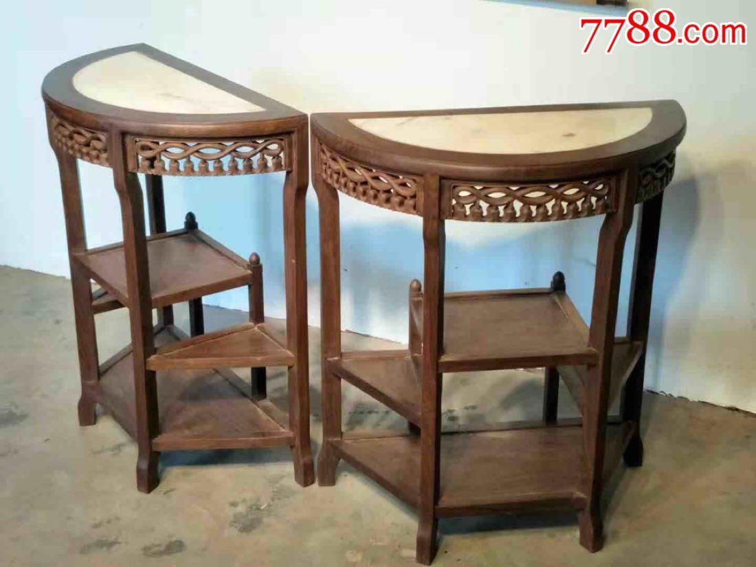 圆桌,木质花梨木,镶大理石面,篓空雕刻,直径66高80多层设置做工细致
