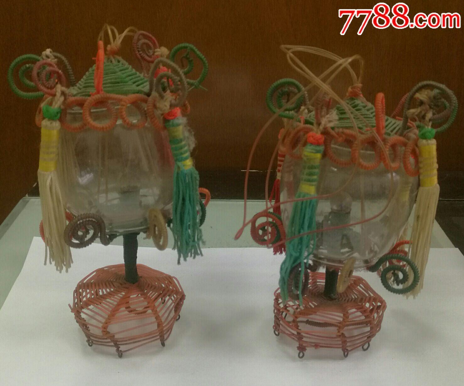 早期全手工制作的一对玻璃丝吊挂台灯