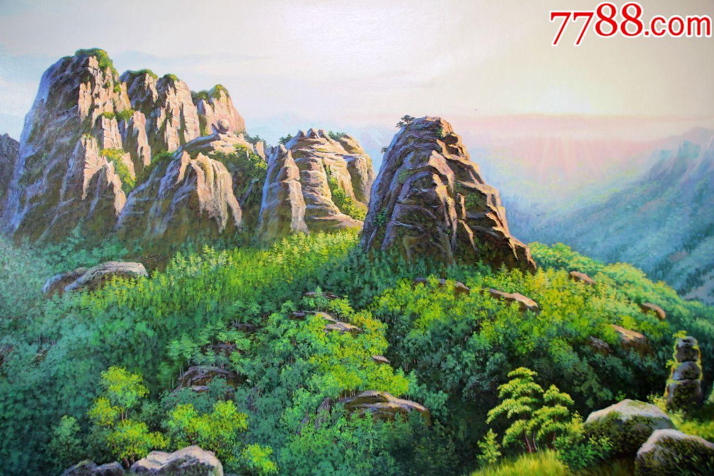 朝鲜油画金恩,七宝山的早晨,长164宽91