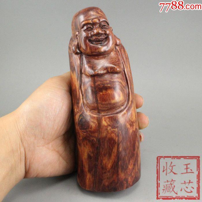 天然紫檀柳鬼脸花纹原木手工雕刻《哈哈笑佛》摆件木艺收藏