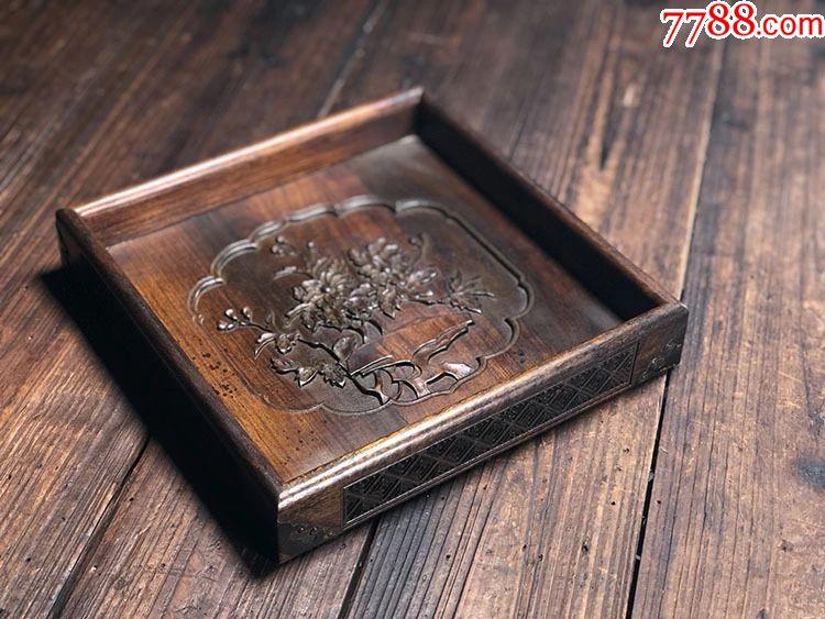 木雕刻花卉如意纹四方茶盘整块实木硬木功夫茶台家居复古摆件_价格280