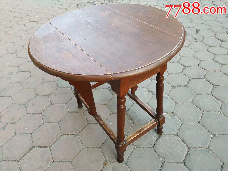 桌子,老式实木折叠圆桌图片