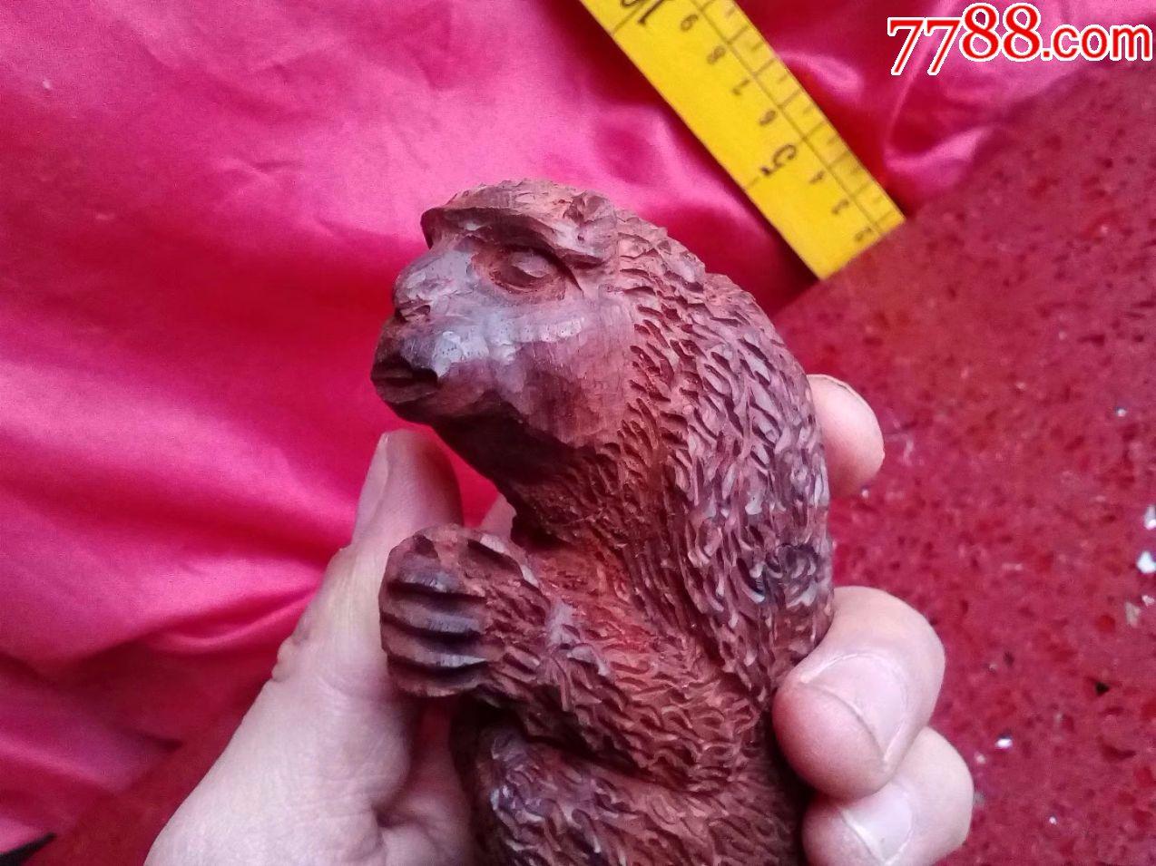 一口价,保证真正小叶紫檀红木,纯手工雕刻花鸟动物,猴子作揖