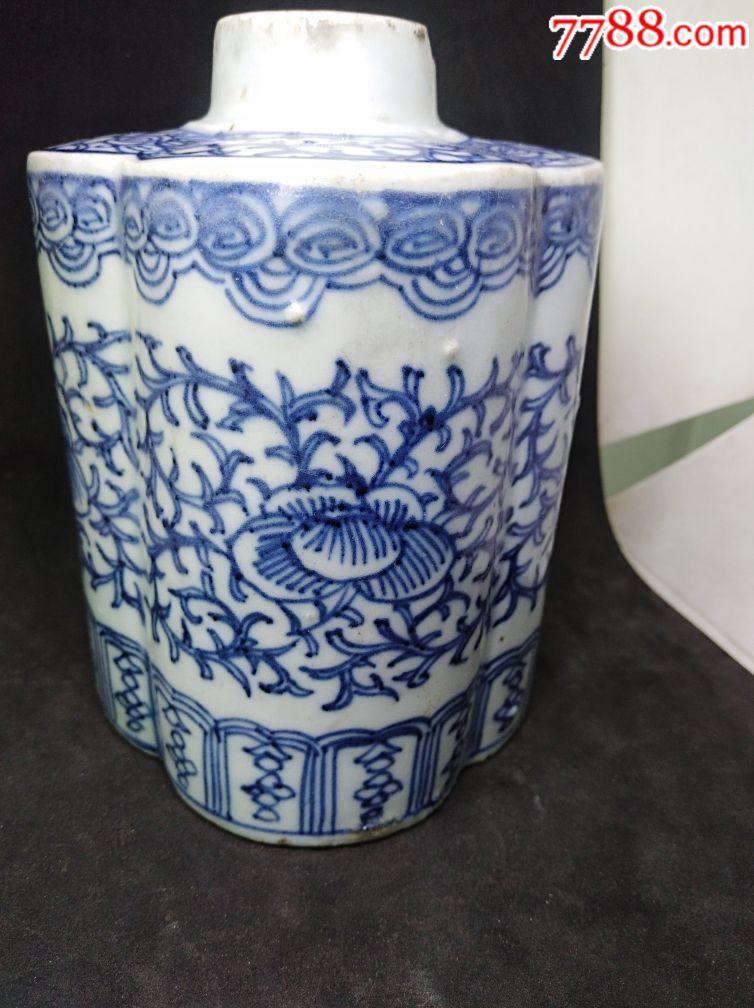 清代青花花卉瓷器茶叶罐真品收藏图片