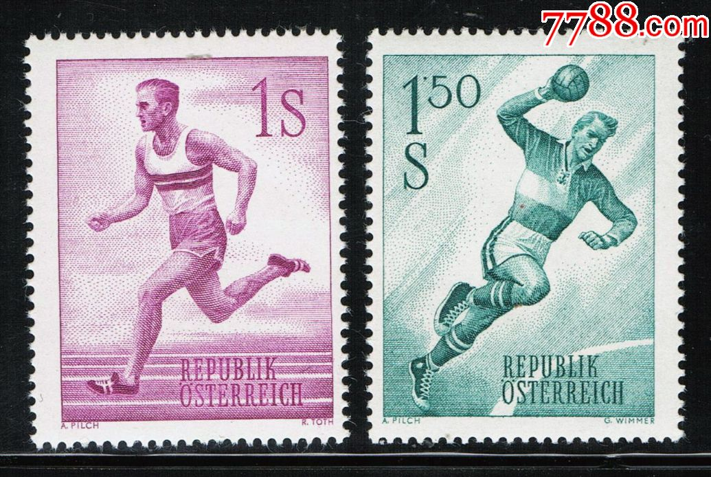 奥地利女子1959年体育运动手球跑步雕刻版2全亚运会中国垒球邮票印尼图片