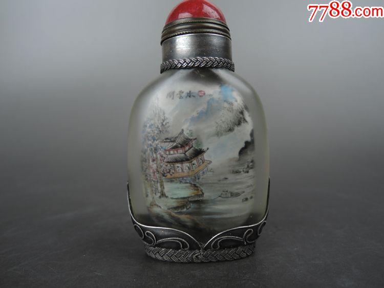 清代叶仲三内画包银老鼻烟壶图片