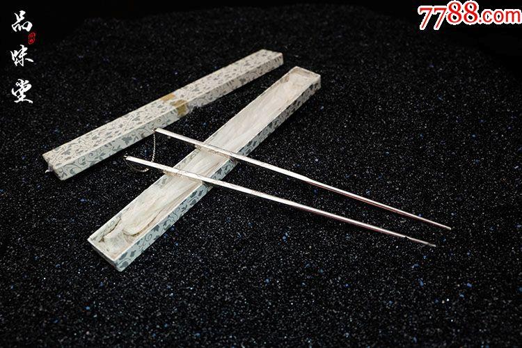 早期日本制作纯铜包银寿司筷子手工制作雕绘龙纹全新未使用收藏