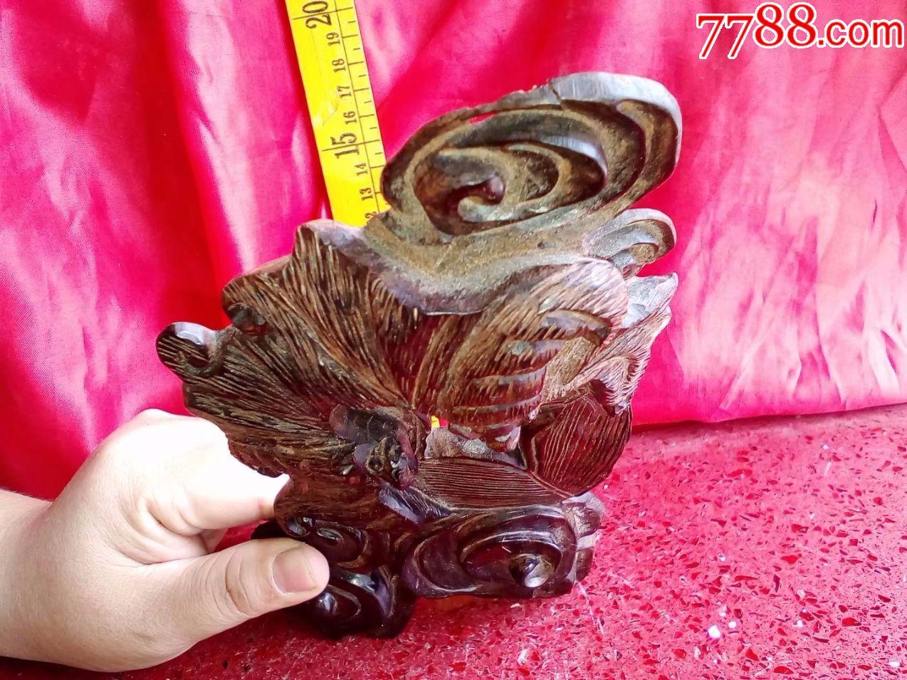 酸枝木红木,纯手工雕刻花鸟动物,两只蝙蝠在铜钱上,招