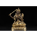 清代:铜鎏金文殊菩萨坐像-¥38,000 元_佛像/造像_7788网