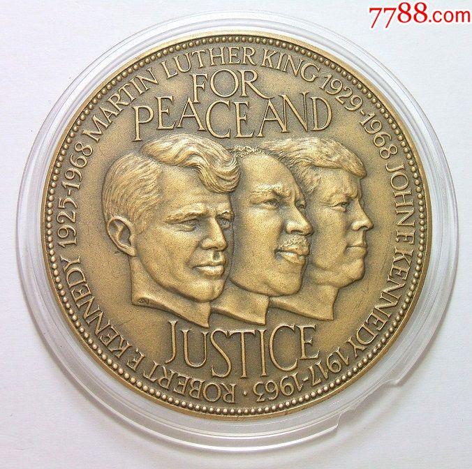 美国1963年肯尼迪兄弟、马丁路德金和林肯民权运动高浮雕精制大铜章50MM(se65493693)_