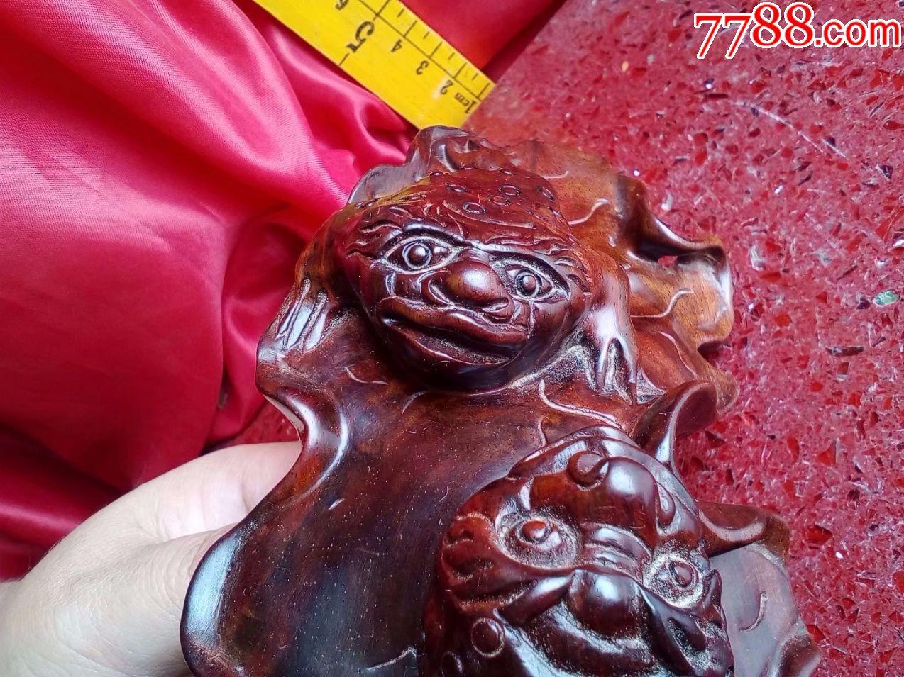 酸枝木红木,纯手工雕刻花鸟动物之招财金蟾两只在荷叶