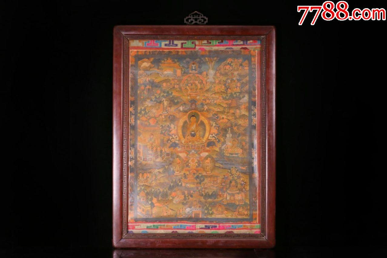 晚清,藏传佛教,寺庙老药师佛唐卡,天然矿物质颜料,金水,银水,珊瑚颜料
