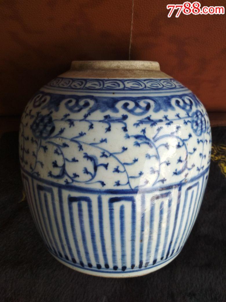 清中期青花折枝花卉图纹罐(se68124342)_