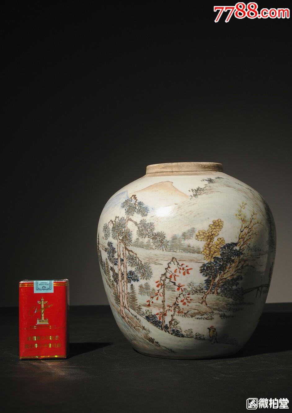 珍藏级清末时期金品卿手绘浅绛山水瓷罐(se69062787)_