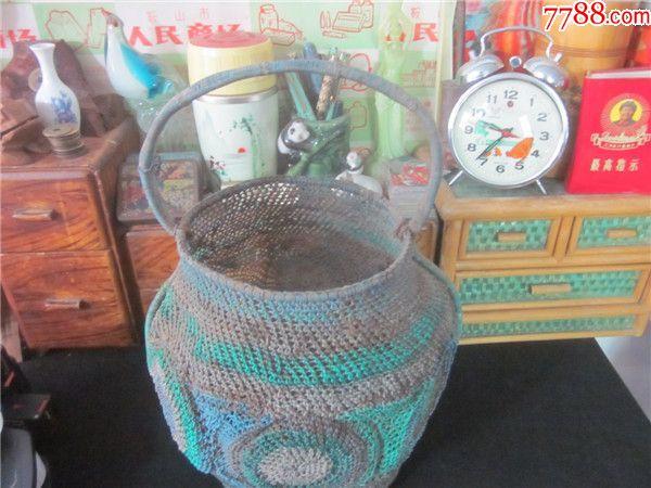 上世纪60-70年代老式纯手工铁丝编筐手篮子筐民俗老物品.