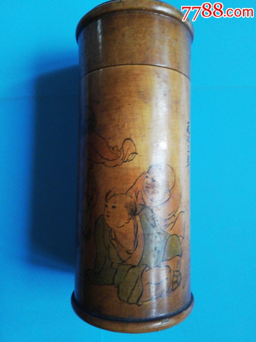 1973年手绘合和二仙茶叶筒高16直径6.2厘米(se69451740)_