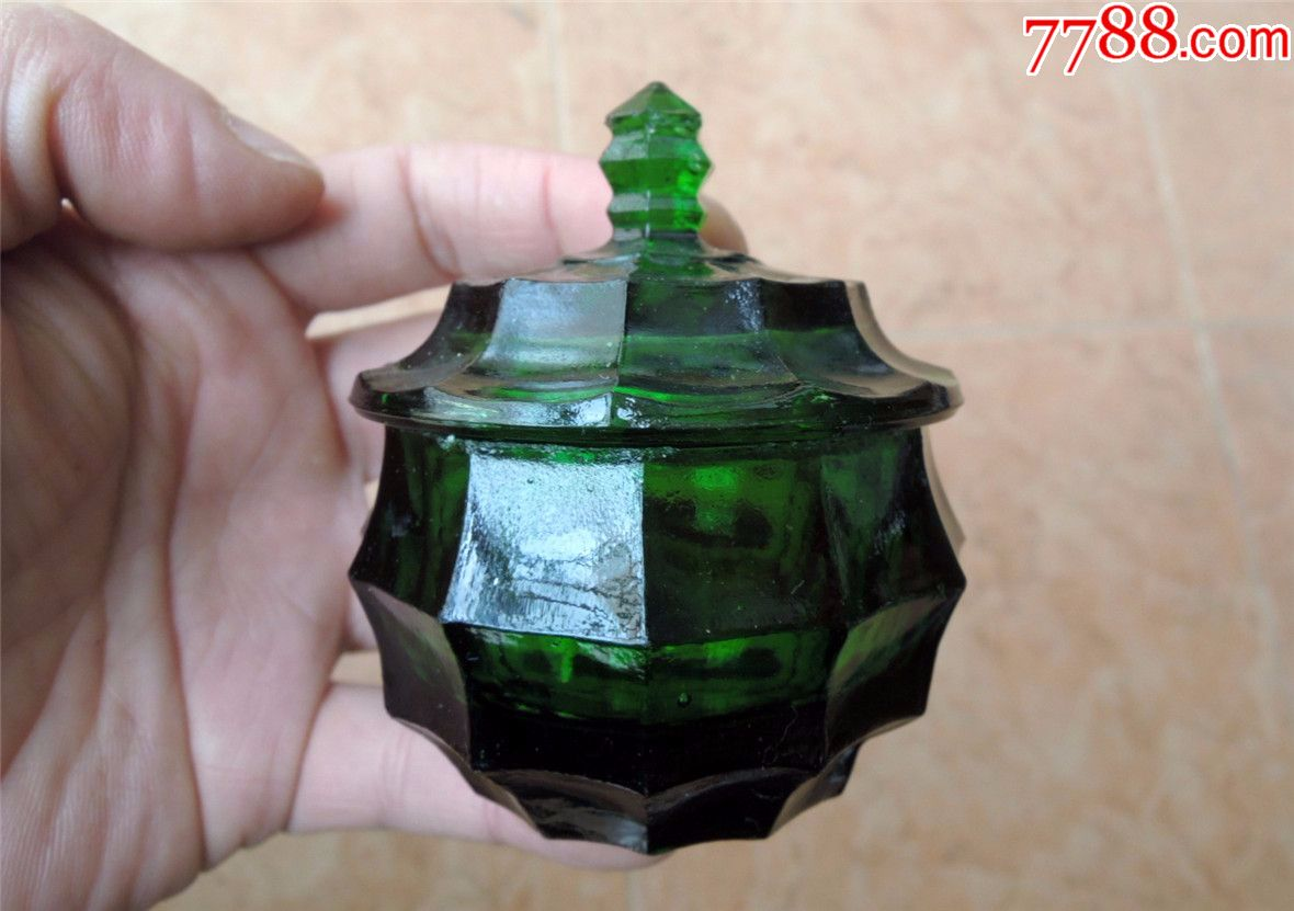 老���收藏1911-解放前后漂亮的多棱多面�G琉璃化�y品瓶170G(se69676571)_
