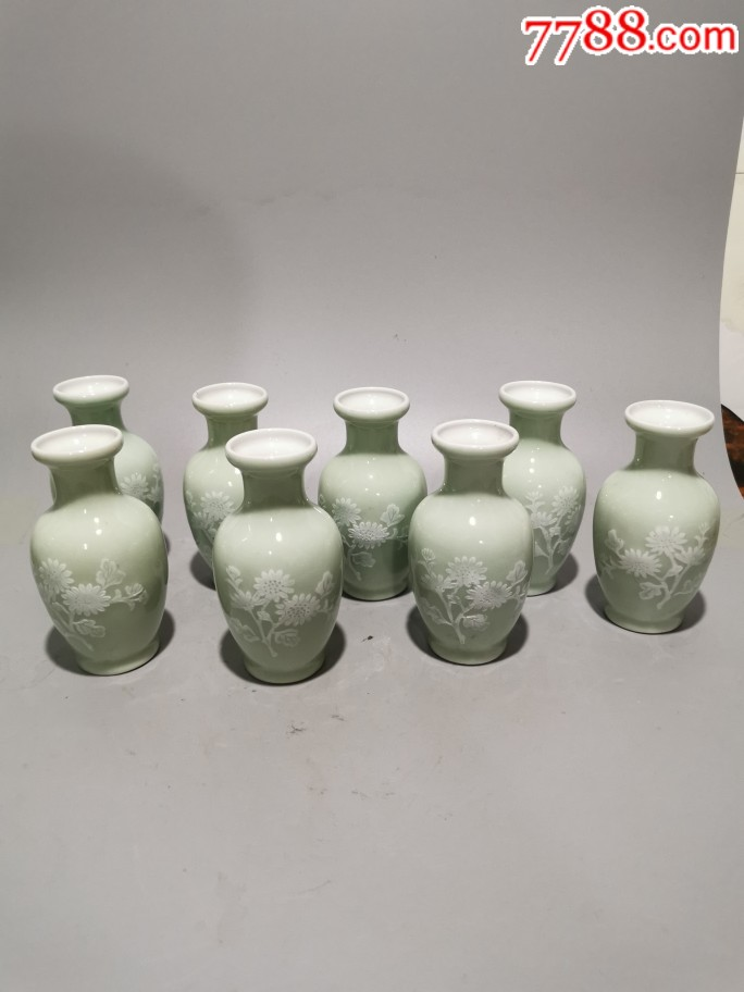 豆青釉堆白花瓶567堆白(se69780435)_