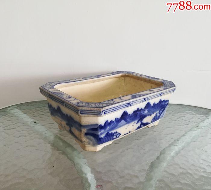 美雅大气的民国青花山水纹水仙瓷盆(se69911995)_