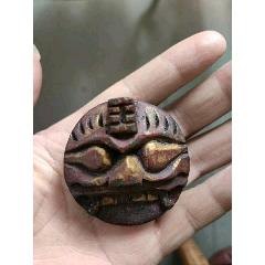 晚清民国木雕八卦吞口工艺精湛辟邪喜欢的朋友不要错过细节如图-¥680 元_木雕挂件_7788网