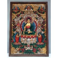 舊藏西藏木框彩繪唐卡佛像釋迦牟尼藥師佛一尊恭請供奉家居裝飾掛畫(se77134861)_7788舊貨商城__七七八八商品交易平臺(7788.com)