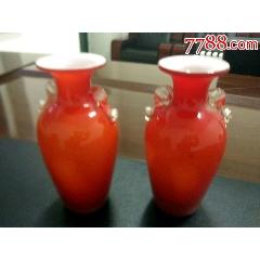 珊瑚紅雙耳玻璃瓶(se78195561)_7788舊貨商城__七七八八商品交易平臺(7788.com)