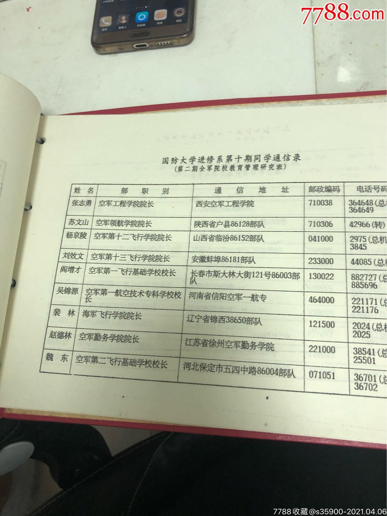 國防大學第十期進修同學錄,全是將軍_價格550元_第11張_7788收藏__收藏熱線