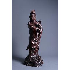 舊藏老酸枝凈瓶觀音座像-¥7,600 元_木佛像/人像_7788網