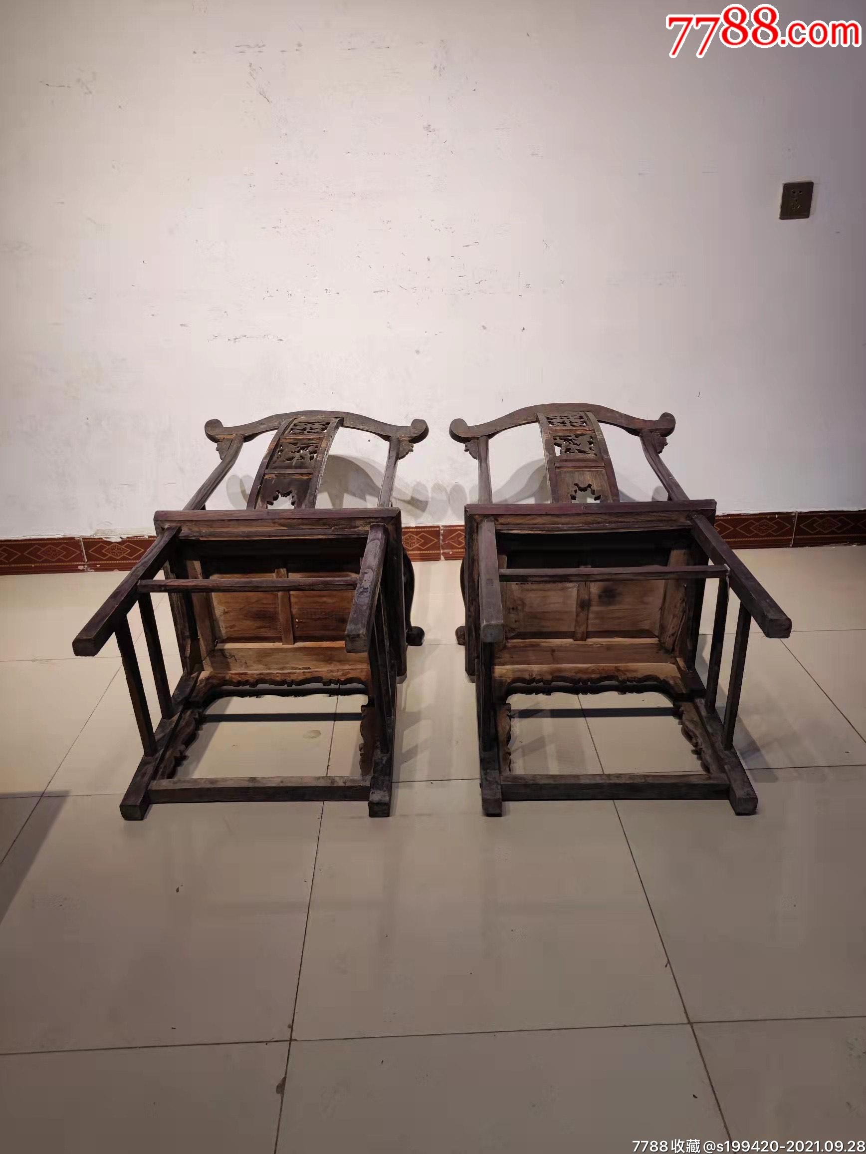 清代榆木官帽椅一对。后背三层透雕,做工精细,完整牢固。_价格1380元_第3张_7788收藏__收藏热线