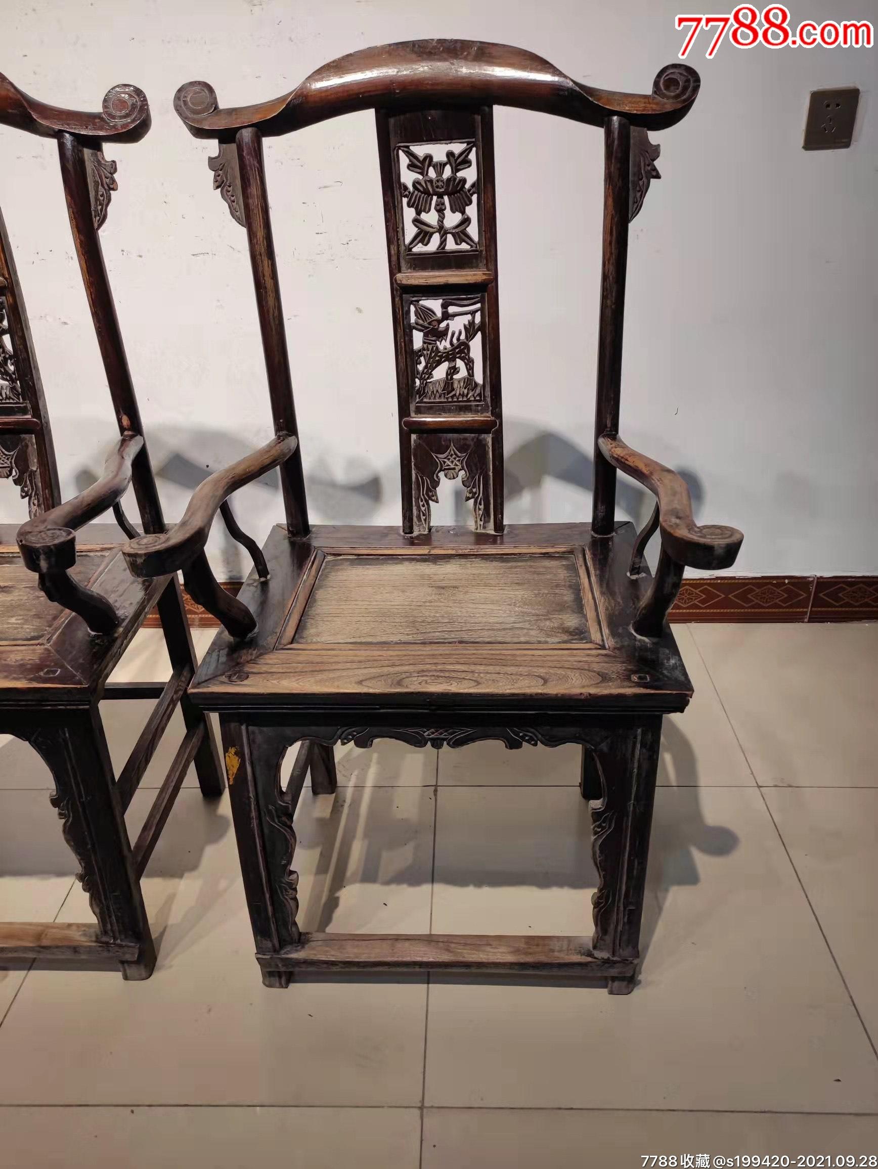 清代榆木官帽椅一对。后背三层透雕,做工精细,完整牢固。_价格1380元_第5张_7788收藏__收藏热线