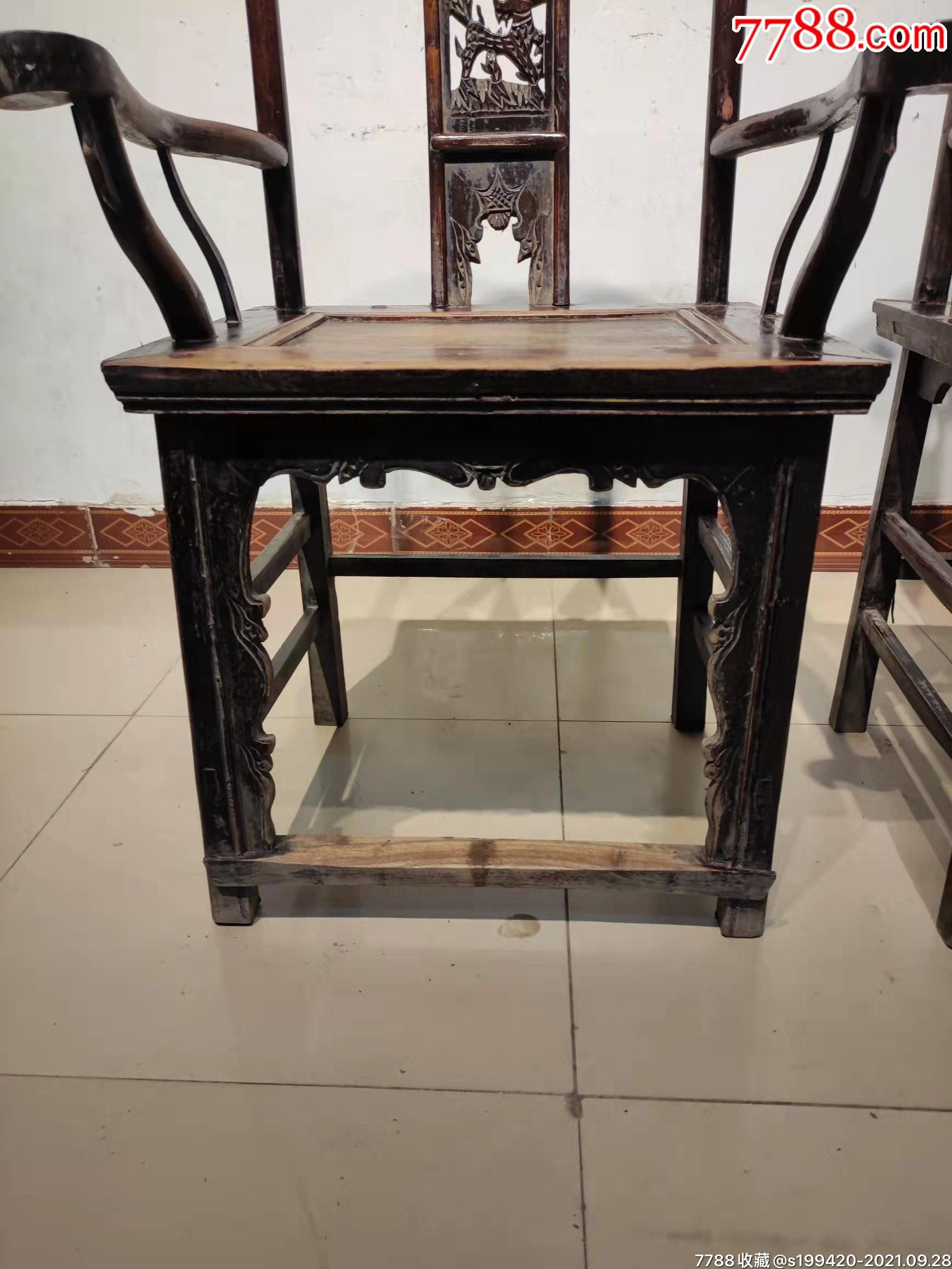 清代榆木官帽椅一对。后背三层透雕,做工精细,完整牢固。_价格1380元_第6张_7788收藏__收藏热线