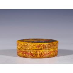 老料器珐琅彩花鸟纹盖盒-¥3,500 元_其他琉璃工艺_7788网