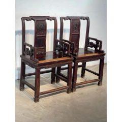 清代榆木太师椅一对,做工精细,结实牢固,全品包老。