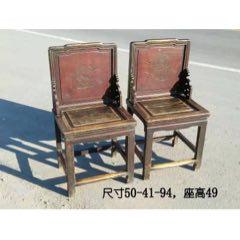 清代榆木屏风椅一对,做工精致,漆皮漂亮老道,保存完好,结实稳固,置雅室厅堂佳品。