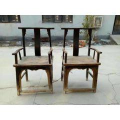 清代全方秤榉木椅子一对,完整无松动,品如图(se83254691)_7788收藏__收藏热线