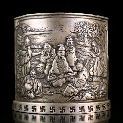 白铜扇形笔筒,不议价-¥150 元_笔筒_7788网